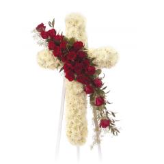 DiBella Flowers & Gifts Las Vegas - Red and White Cross Standing Spray CTT 21-11