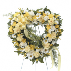 DiBella Flowers & Gifts Las Vegas - Shades of Yellow Heart Standing Spray CTT 34-21