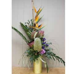 DiBella Flowers & Gifts Las Vegas - Traditional High style  Tall cylinder vase to include Birds of Paradise,Protea and more.