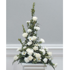 DiBella Flowers & Gifts Las Vegas - White Tribute Pedestal Arrangement CTT11-12 L shaped pedestal arrangement to include carnations, mums and roses.