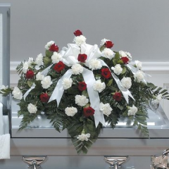 DiBella Flowers & Gifts Las Vegas - Red and White Casket Spray CTT23-11 Red roses and white carnations in a beautiful casket spray.