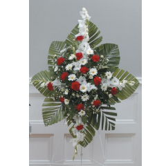 DiBella Flowers & Gifts Las Vegas - Red and White Standing Spray CTT23-12 Red carnations, white gladiolus and daisies in this beautiful spray.