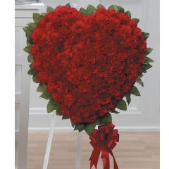 DiBella Flowers & Gifts Las Vegas - Red Carnation Heart Standing Spray CTT27-13