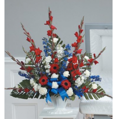 DiBella Flowers & Gifts Las Vegas - Red, White and Blue Mache CTT28-11 Carnations, Gladiolus, Delphinium and Gerbera Daisies.