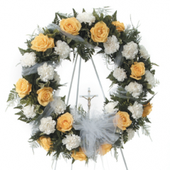 DiBella Flowers & Gifts Las Vegas - White and Yellow Spray with Cross CTT39-11 Rose and Carnation wreath with cross.
