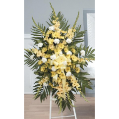 DiBella Flowers & Gifts Las Vegas - Yellow Standing Spray CTT40-11 Gladiolus, Carnationa and Poms.
