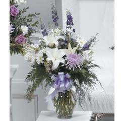 DiBella Flowers & Gifts Las Vegas - White and Lavender Vase Arrangement CTT48-12 Lilies, Larkspur, Mums and more.