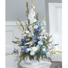 DiBella Flowers & Gifts Las Vegas - White and Blue Pedestal Arrangement CTT52-11 Gladiolus, Iris, Carnations, Delphinium and Poms.