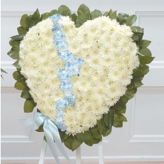 DiBella Flowers & Gifts Las Vegas - White and Blue Broken Heart Standing Spray CTT53-12
