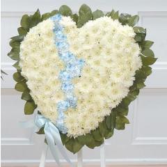 DiBella Flowers & Gifts Las Vegas - White and Blue Broken Heart Standing Spray CTT53-12