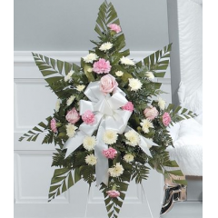 DiBella Flowers & Gifts Las Vegas - White and Pink Standing Spray CTT58-11 Carnations, Roses and Poms.