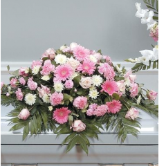 DiBella Flowers & Gifts Las Vegas - White and Pink Casket Spray CTT59-11 Gerbera Daisies, Roses, Carnations and Poms.