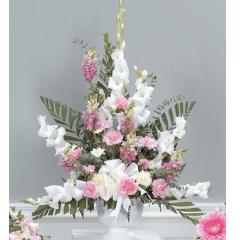 DiBella Flowers & Gifts Las Vegas - White and Pink Pedestal Arrangements CTT59-12 Gladiolus, Snapdragons, Carnations and Poms.