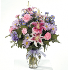 DiBella Flowers & Gifts Las Vegas - Pinks and Lavenders Bouquet CTT61-22 Stargazers, Carnations, and Lavender Daisies.