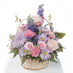 DiBella Flowers & Gifts Las Vegas - Pinks and Lavenders Basket Arrangement CTT61-32 Larkspur, Mums, Roses, Carnations, Daisies and Spray Rose.