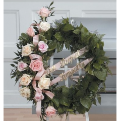 DiBella Flowers & Gifts Las Vegas - White and Pink Rose Wreath CTT70-12 **Custom Ribbons Available Separately** **Ribbons will not be included on Wreath**