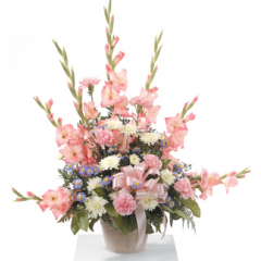 DiBella Flowers & Gifts Las Vegas - Pink Pedestal Arrangement CTT73-11 Pink shade of mixed flowers in a beautiful fan shaped presentation.