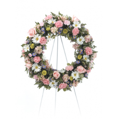 DiBella Flowers & Gifts Las Vegas - Pink, Yellow and White Wreath CTT 73-31 ** 8x10 Picture can be included **
