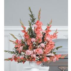 DiBella Flowers & Gifts Las Vegas - Peach Pedestal Arrangement CTT74-11 Gladiolus and Carnations.