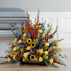 DiBella Flowers & Gifts Las Vegas - Mix of Color CTT82-21 Gerberas, Gladiolus, iris, Delphinium, Roses and Sunflowers