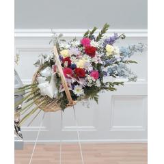 DiBella Flowers & Gifts Las Vegas - Standing Fireside Basket CTT85-12 Stargazers, Carnations, Roses, Delphiniums and More.