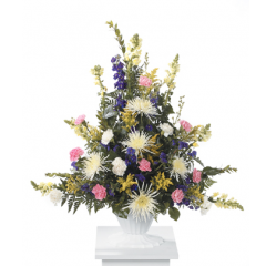DiBella Flowers & Gifts Las Vegas - Mixed Pedestal Arrangement CTT93-11 Snapdragons, Larkspur, Carnations and Mums.