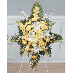 DiBella Flowers & Gifts Las Vegas - Yellow Standing Spray CTT33-12 Yellow roses, Daisies, Gladiolus, Orchids and Lilies
