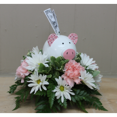 DiBella Flowers & Gifts Las Vegas - Piggy Bank Baby Girl Send this adorable piggy bank surrounded by delicate flowers in celebration of that new baby. Include keepsake piggy bank.