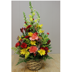 DiBella Flowers & Gifts Las Vegas - Festive Fall Oranges, red yellows and greens in this rich autumn basket arrangement.  *onesided