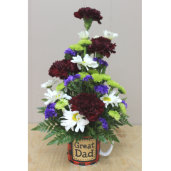 DiBella Flowers & Gifts Las Vegas - Great Dad Even dad needs a little pick me up! Send him this sweet mug of burgundy Carnations, Green Poms, white Daisies and accents.