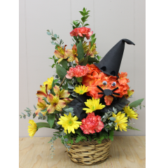 "DiBella Flowers & Gifts Las Vegas - Spooks the Cat Treat your friends with this spooky Halloween surprise! Fresh mixed fall flowers in a basket with ""Spooks the Cat""!"