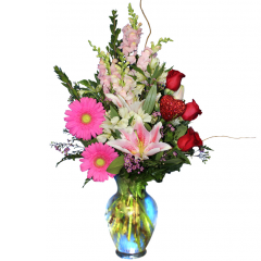 DiBella Flowers & Gifts Las Vegas - Be Mine Bouquet Red Roses, Pink Stargazers, Snapdragons, Gerbera Daisies in a glass vase and sparkling heart ornament
