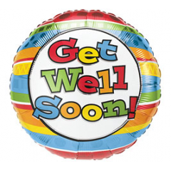 DiBella Flowers & Gifts Las Vegas - Get Well - Stripes Mylar 17 inch
