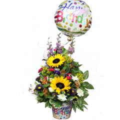 DiBella Flowers & Gifts Las Vegas - Birthday Surprise! Celebrate someone special with this eye catching, festive mix. Includes fresh summery mix of Sunflowers, Larkspur, Carnations, Poms, Alstromeria Lilies and Asters, plus a keepsake container and Mylar balloon. *Mylar balloon may vary slightly