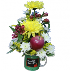 DiBella Flowers & Gifts Las Vegas - Terrific Teacher Mug Arrangement  Assorted poms and Alstromeria Lilies in a keepsake mug.