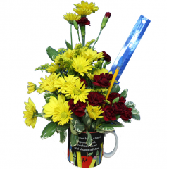 "DiBella Flowers & Gifts Las Vegas - Shaping the Future Mug Arrangement Festive mix of Daisies and Mini Carnation with pencils and ruler! ""A teacher takes a hand, opens a mind, touches a heart and shapes the future"" A keepsake they will treasure forever."