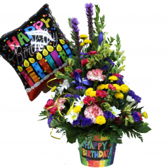 Birthday Bash Celebrate someone special with this eye catching, festive mix. Includes fresh summery mix of Carnations, Iris,Liatris, and Poms, plus keepsake container and Mylar balloon. *Mylar balloon may vary slightly