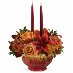 """DiBella Flowers & Gifts Las Vegas - Bounty Of Beauty Centerpiece In the spirit of artisanal American ceramics, this hand-glazed ombre bowl captures the rich hues of the fall season and is the perfect presentation for a heartwarming centerpiece of roses and lilies. The food-safe serving bowl is truly a Thanksgiving gift that keeps on giving! Approximately 12 1/4"""" W x 14 1/2"""" H"""