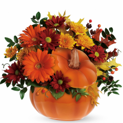 "DiBella Flowers & Gifts Las Vegas - Country Pumpkin Perfect for a fall centerpiece, birthday or Halloween party, this flower-filled ceramic pumpkin is a real cutie-pie. Approximately 13 1/2"" W x 12"" H"
