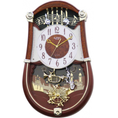 DiBella Flowers & Gifts Las Vegas - RHYTHM CLOCK CONCERTO ENTERTAINER II MUSICAL WALL  CLOCK  The Concerto Entertainer II is orchestrated with an extraordinary ensemble of instruments and musical notes. The figures on the pendulum swing to one of the 30 melodies while the wheel at the bottom rotates. The LED lights are synchronized to the music every hour. Clock is battery quartz operated.