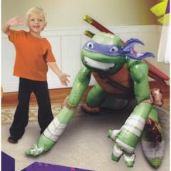 """44"""" Packaged Teenage Mutant Ninja Turtles Leonardo Airwalker foil balloon. Can be filled with air or 3.93 cubic feet of helium."""