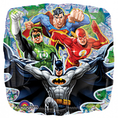 DiBella Flowers & Gifts Las Vegas - Justice League Mylar Balloon Featuring the greatest DC superheroes Superman, The Flash, Green Lantern and Batman