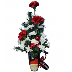 "DiBella Flowers & Gifts Las Vegas - Holly Jolly Travel Mug Bouquet Fresh Christmas Greens, Red Carnations and White Poms in keepsake ""Holly Jolly"" Travel mug."