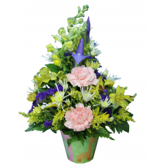 DiBella Flowers & Gifts Las Vegas - Animal Parade Bouquet Blue Iris, Pink Carnations, Poms, Yellow Alstromeria Lilies and Snapdragons ina Animal Parade Keepsake container. Perfect for welcoming new baby to the world.