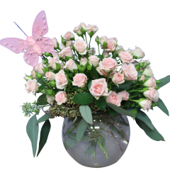 DiBella Flowers & Gifts Las Vegas - Sweet Pink Bouquet Sweet pink Spray roses and fresh Eucalyptus in a clear bubble bowl with Pink Butterfly.