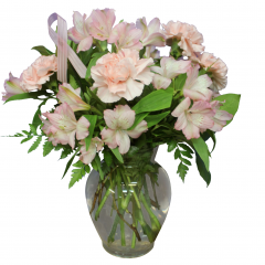 DiBella Flowers & Gifts Las Vegas - Soft Pink Bouquet Help raise Breast Cancer Awareness this month. Soft Pink Carnations and Alstromeria Lilies. Pink Ribbon Included *10% of sales of this bouquet will be donated to American Cancer Society