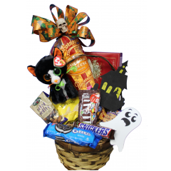DiBella Flowers & Gifts Las Vegas - Spooky Sweets Goodie Basket Cookies, candy, popcorn, other sweet treats and Halloween stuffed animals