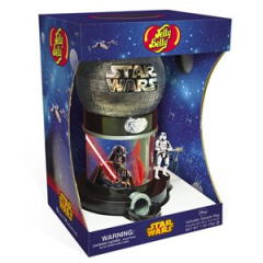 STAR WARS™ Bean Machine That's no moon, it's a Jelly Belly STAR WARS Bean Machine!  This stellar display with Death Star globe will thrill fans of all ages. The powerful Darth Vader dominates the dispenser base with the Stormtrooper doing his bidding, dispensing Jelly Belly jelly beans with the push of the handle. Each dispenser includes a 1-oz. bag of Assorted Jelly Belly beans. Perfect for home, work or parties, fans will be orbiting this iconic centerpiece.