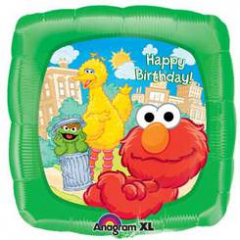 "DiBella Flowers & Gifts Las Vegas - Elmo and Friends Birthday Balloon 17"" foil Mylar balloon"