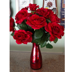 DiBella Flowers & Gifts Las Vegas - Dazzling Red Roses in Silk One dozen red silk roses in keepsake red mirrored carafe